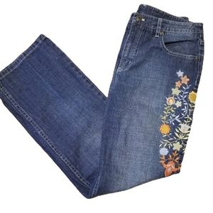 Talbots 10 petite embroidered stretch jeans